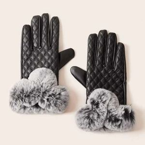 Last pair Soft faux fur with faux leather gloves